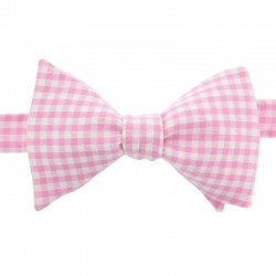 Light Pink Gingham Bow Tie