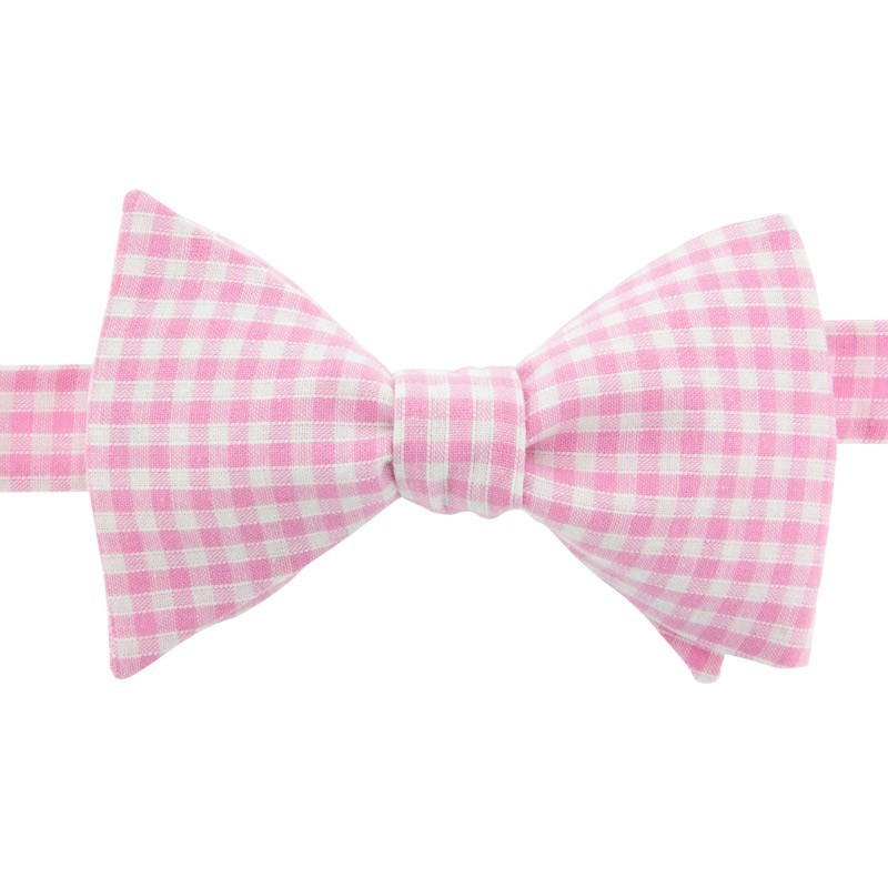 059c31ffc40a62 Light Pink Gingham Bow Tie