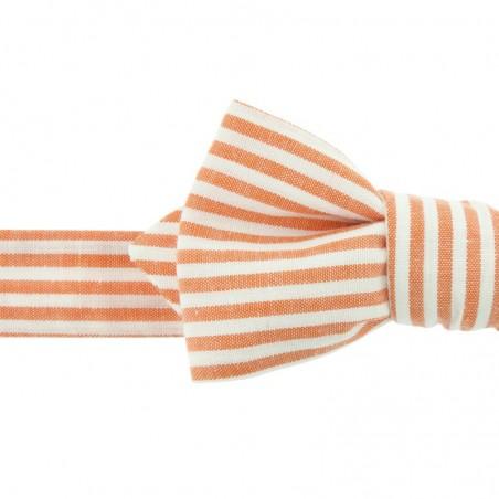 Noeud Papillon à Rayures Orange