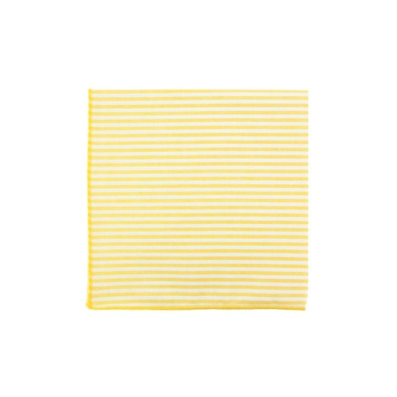 Pochette de costume à rayures jaune pastel