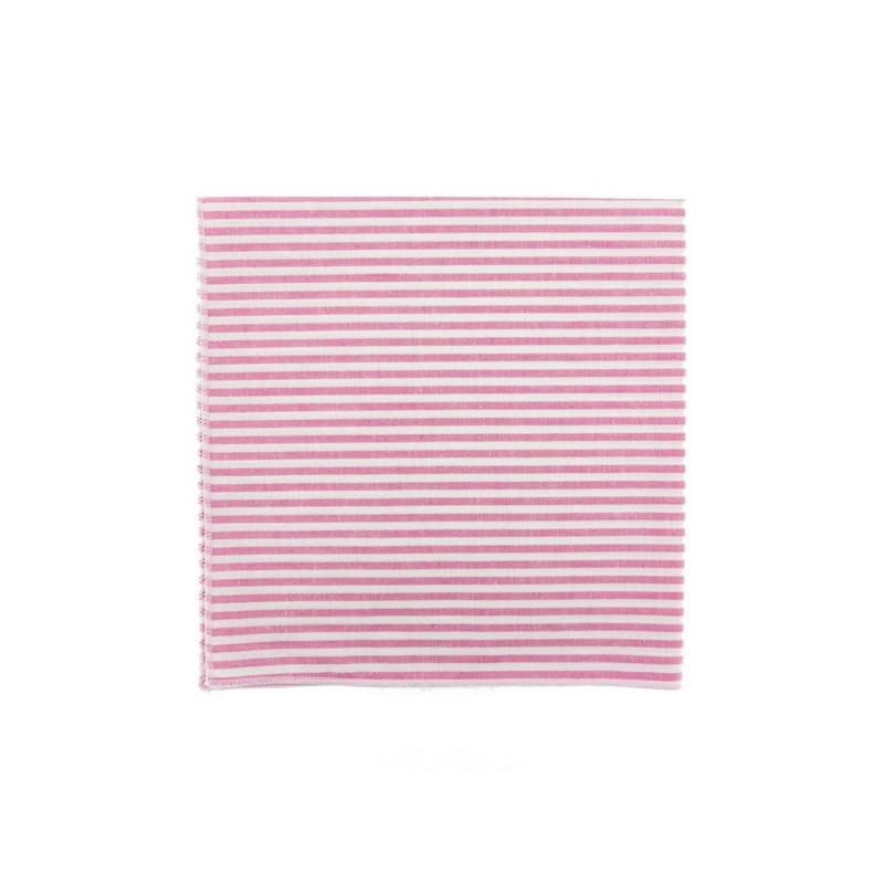 Fushia pink stripe pocket square