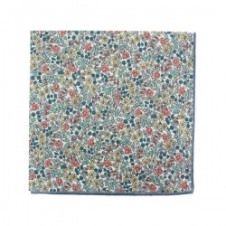 Peach / blue Emilia Liberty pocket square