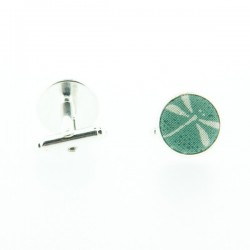 Peacock Blue Dragonfly Japanese cufflinks