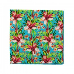 Turquoise pink Vahine Liberty pocket square