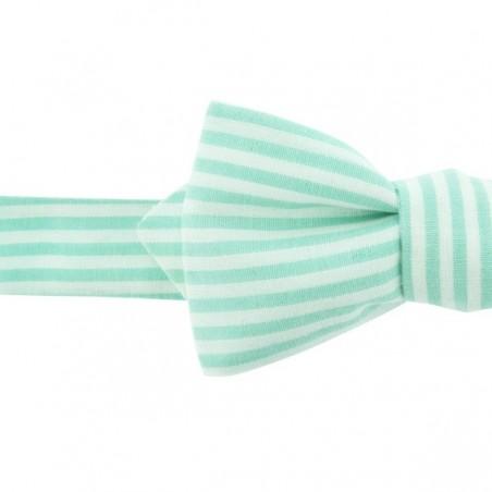 Noeud Papillon à Rayures Vert d'eau