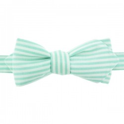 Mint stripe bow tie