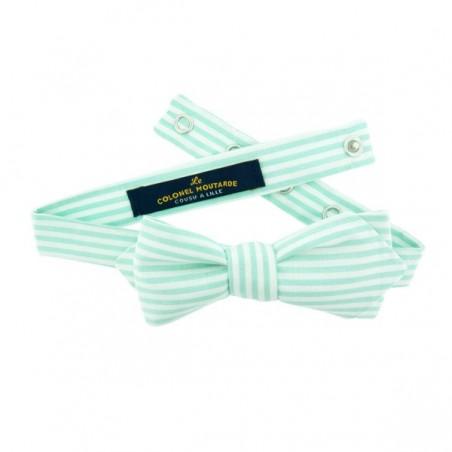 Mint stripe bow tie