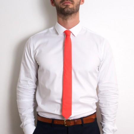 Cravate Corail Uni SLIM