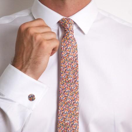 Cravate Liberty Pepper Orange Gris SLIM