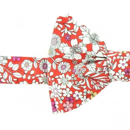 Noeud Papillon Liberty imprimé petites fleurs blanches June Meadow Vermillon
