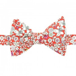 Noeud Papillon rouge motifs Liberty June Meadow Vermillon