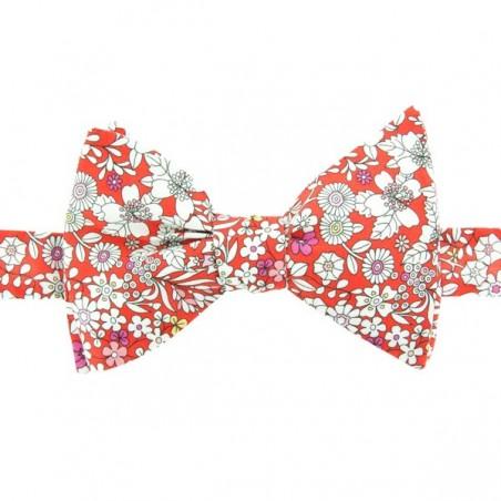 Noeud Papillon rouge motifs Liberty June Meadow Vermillon