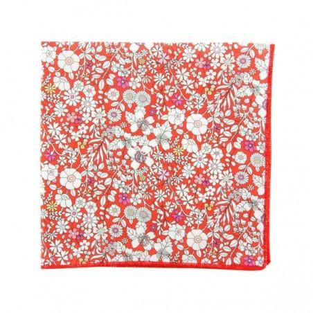 Pochette costume Liberty June Meadow Vermillon imprimé floral rouge et blanc