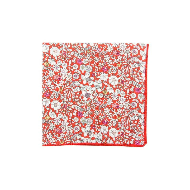 Red June Meadow Liberty pocket square