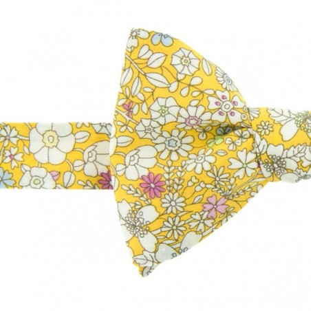Noeud Papillon Liberty  imprimé de petites fleurs June Meadow Jaune paille forme classique
