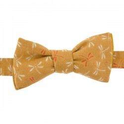 Mustard Dragonfly Japanese Bow Tie