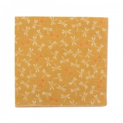 Mustard dragonfly Japanese pocket square