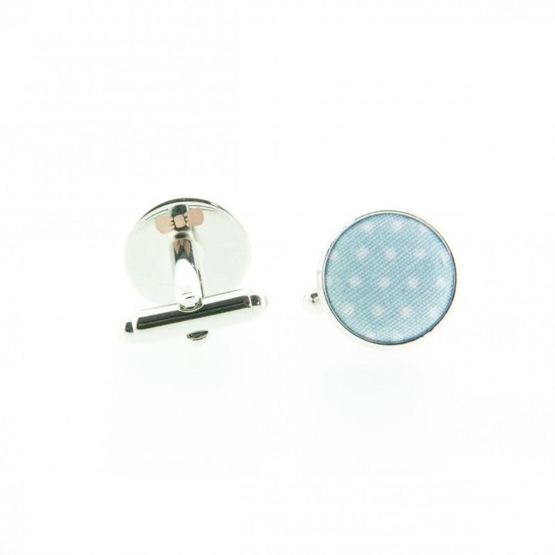 Boutons de manchette Mini Pois Baby Blue