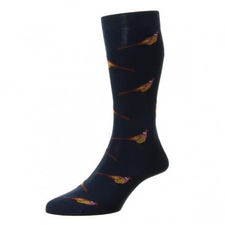 Navy blue chevron Scottish thread Socks