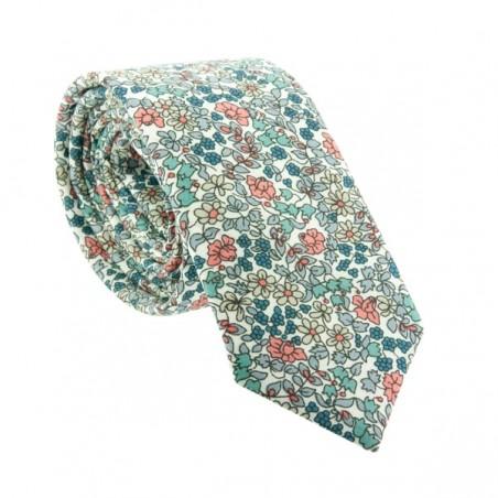 Cravate Liberty Emilia Flowers Bleu / Pêche SLIM