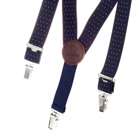 Kid white dots on navy skinny braces BERTELLES