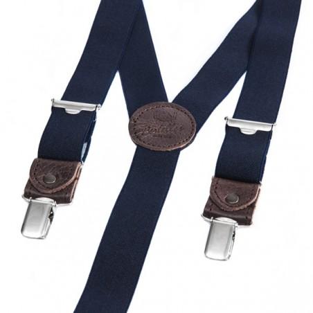 Bretelles FINES Bleu Marine cuir 25 MM