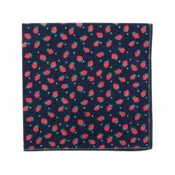Navy Strawberry pocket square