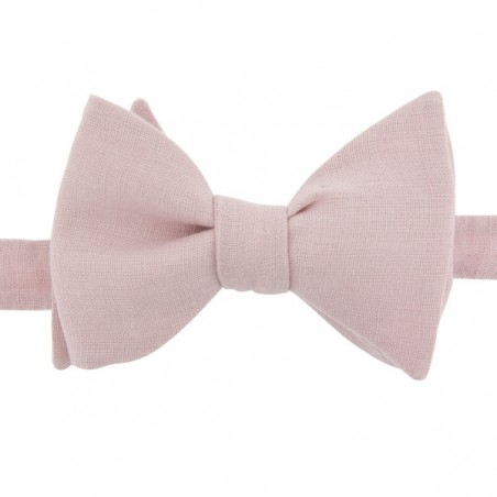 Dusty Pink Linen Bow Tie