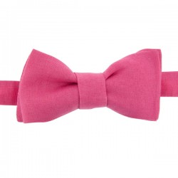Noeud Papillon en Lin Rose Fushia