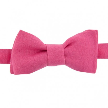 Fushia Linen Bow Tie