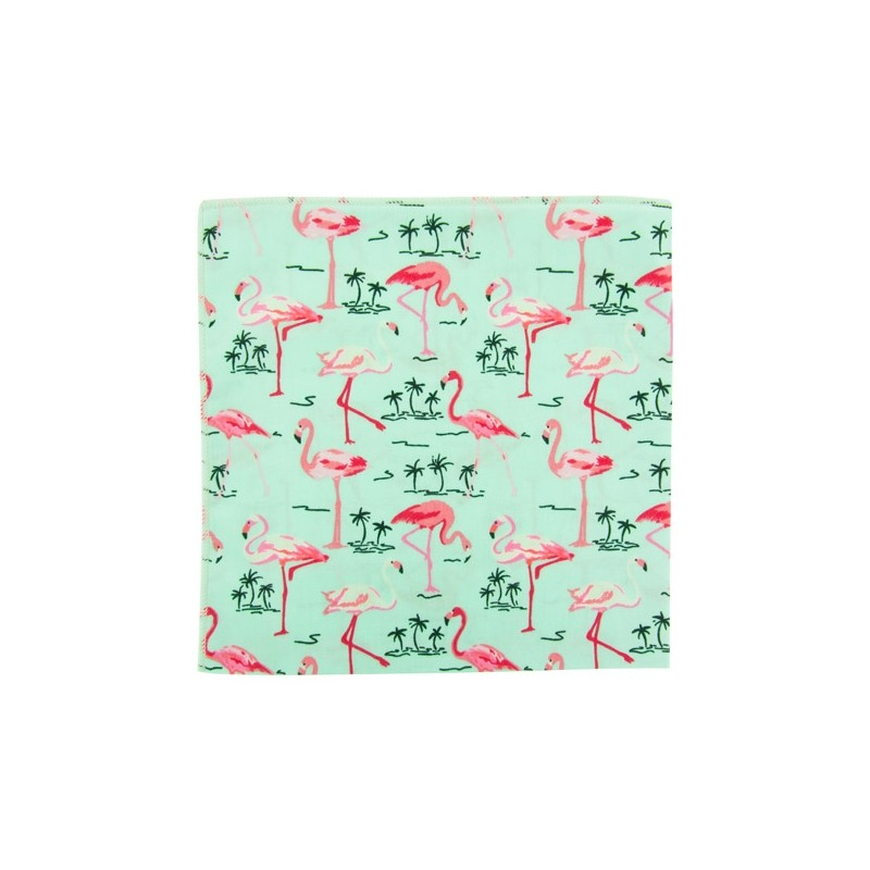 Mint Flamingo pocket square