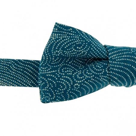 Noeud Papillon Slim motifs Japonais Storm bleu denim