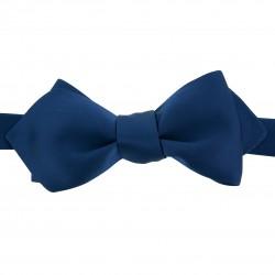Nœud papillon Soie bleu indigo forme pointue