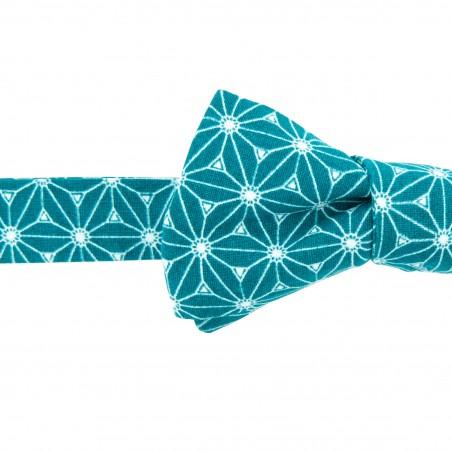 Noeud papillon Fuji  Vert Imprimé forme slim