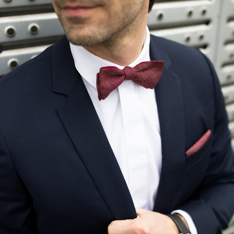 f98574edd128 Burgundy Samekomon Japanese bow tie