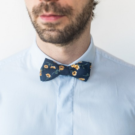 Noeud Papillon homme bleu et jaune Poppy motifs tournesol