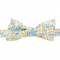 Noeud papillon Liberty moutarde bleu ciel forme slim