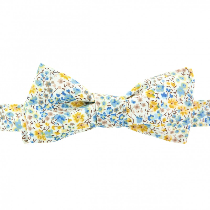 09e1368af987 Mustard / sky blue Phoebe Liberty bow tie