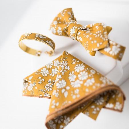 Pochette de costume Moutarde noeud papillon jaune bracelet liberty Capel