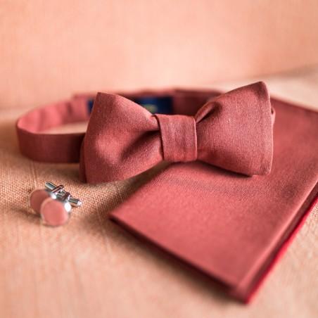 Noeud papillon pochette de costume bouton manchette rouge rouille