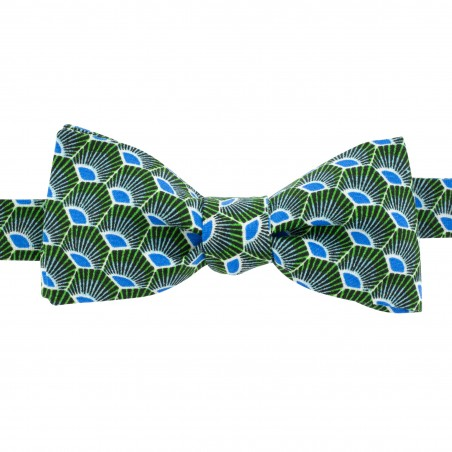 Noeud papillon vert motifs bleu forme slim