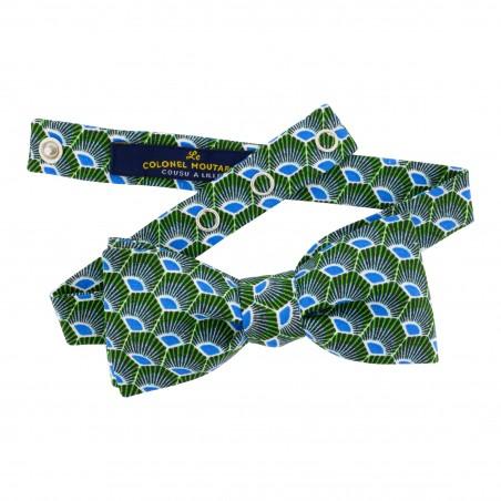 Noeud papillon réglable Gatsby vert et bleu Le Colonel