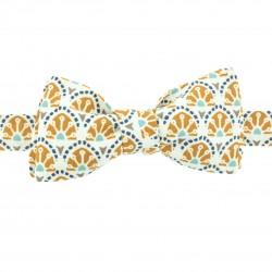 Noeud papillon slim motifs moutarde et bleu