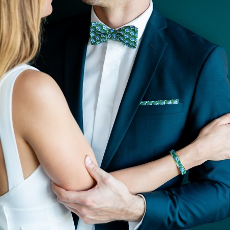 Noeud papillon vert et bleu Gatsby