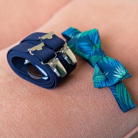 Noeud papillon Costa Rica bleu vert et bretelle bleu