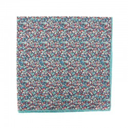 Turquoise / red Pepper Liberty pocket square