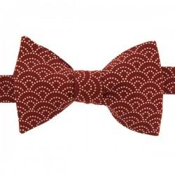 Burgundy Japanese Seigaiha Bow Tie