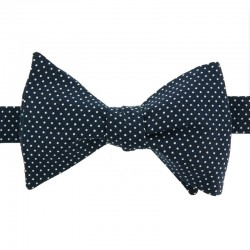 White pin dots on navy blue Bow Tie