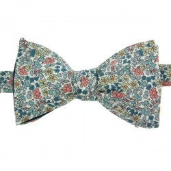 Peach / Blue Emilia Flowers Liberty Bow Tie
