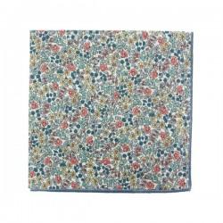 Peach / blue Emilia Liberty pocket square